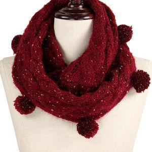 Multi Knit Pom Pom Infinity Scarf burgandy